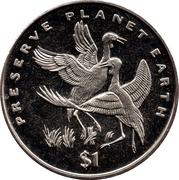 1 Dollar (Wattled Cranes) – reverse