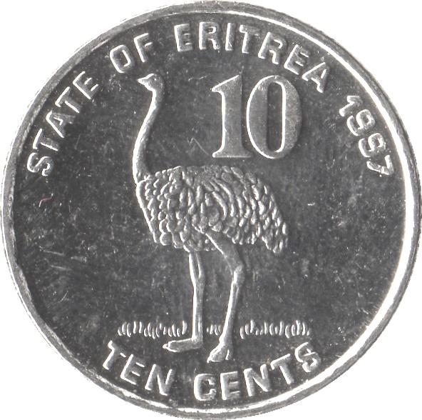 1997 Eritrea 10 Cents Ostrich Unc.
