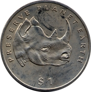 1 Dollar (Black Rhinoceros) – reverse
