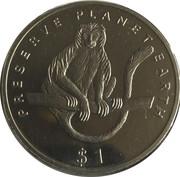 1 Dollar (White Calobus Monkey) – reverse