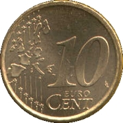 10 Euro Cent (1st type; 1st map) – reverse