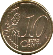 10 Euro Cent (1st type; 2nd map) -  reverse