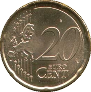 20 Euro Cent (1st type; 2nd map) -  reverse