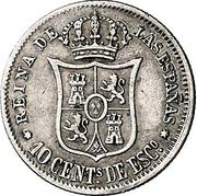 10 Centimos de Escudo - Isabel II – reverse