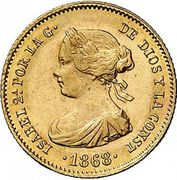 4 Escudos - Isabel II – obverse