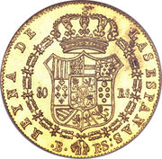 80 Reales - Isabel II (CONST) – reverse