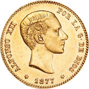 25 Pesetas - Alfonso XII (2nd portrait) -  obverse