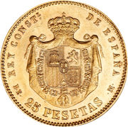 25 Pesetas - Alfonso XII (2nd portrait) -  reverse