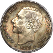 1 Peseta - Alfonso XII (2nd portrait) -  obverse