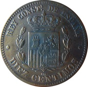 10 Centimos - Alfonso XII -  reverse