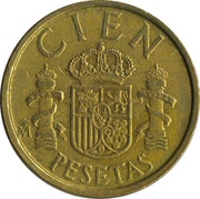 "100 Pesetas - Juan Carlos I (value as ""CIEN"") -  reverse"