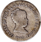 2 Reales - Isabel II (1st portrait,2nd type) – obverse