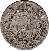 2 Reales - Isabel II (1st portrait,2nd type) – reverse