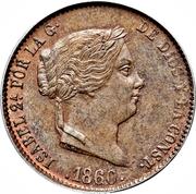 25 Centimos de Real - Isabel II – obverse