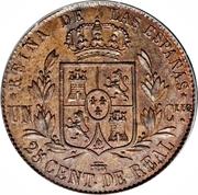 25 Centimos de Real - Isabel II – reverse