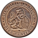 10 Centimos - Provisional Government – reverse