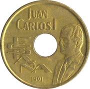 25 Pesetas - Juan Carlos I (high jump) -  obverse