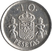 10 Pesetas - Juan Carlos I (Type 2 denomination) -  reverse