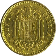 1 Peseta - Francisco Franco (1st portrait) -  reverse