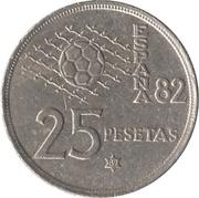 25 Pesetas - Juan Carlos I (1982 FIFA World Cup) -  reverse