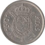 50 Pesetas - Juan Carlos I (with mintmark) -  reverse