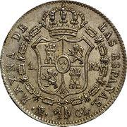 1 Real - Isabel II (1st portrait) – reverse