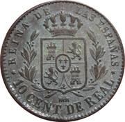 10 Centimos de Real - Isabel II – reverse