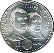 12 Euro - Juan Carlos I (Prince Felipe Royal Wedding) -  reverse