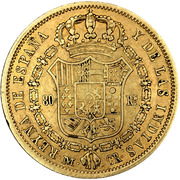 80 Reales - Isabel II (DIOS) – reverse
