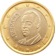1 Euro - Juan Carlos I (1st type - 1st map) -  obverse