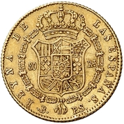 80 Reales - Isabel II (Small head) – reverse