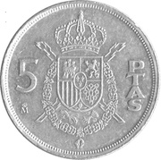 5 Pesetas - Juan Carlos I (with mintmark) -  reverse