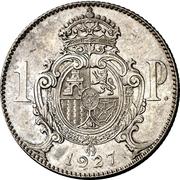 1 Peseta - Alfonso XIII (Trial Strike) -  reverse
