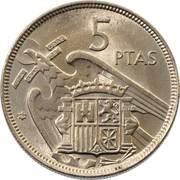 5 Pesetas - Francisco Franco -  reverse