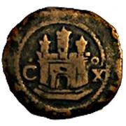 2 Maravedis - Felipe II (low grade billon; latin legend) – obverse