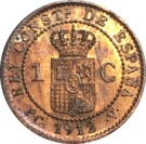1 Centimo - Alfonso XIII (5th portrait) – reverse