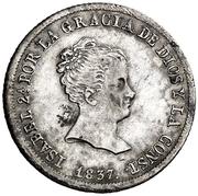 2 Reales - Isabel II (1st portrait,1st type) – obverse