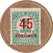 45 Centimos (countermark on 1 centimo) – obverse
