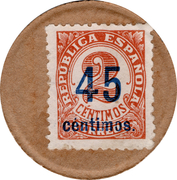 45 Centimos (countermark on 2 red centimos) – obverse