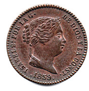 5 Centimos de Real - Isabel II – obverse