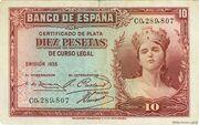 10 Pesetas (Silver Certificate) – obverse
