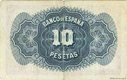10 Pesetas (Silver Certificate) – reverse