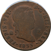 8 Maravedis - Fernando VII (2nd portrait) – obverse