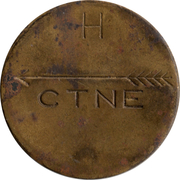 Telephone Token - CTNE (2 grooves in obverse; letter up on the reverse) – reverse