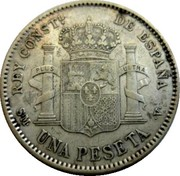 1 Peseta - Alfonso XIII (4th portrait) -  obverse