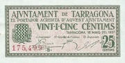 25 Cèntims (Tarragona) – obverse