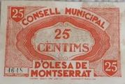 25 Centimos (D'Olesa de Montserrat) – reverse