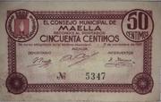 50 céntimos Maella – obverse