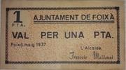1 Peseta Ajuntament de Foixa – obverse