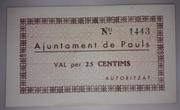 25 Céntimos  Pauls – obverse